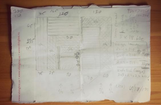 Kirjekuoren takakanteen piirretty ulkosaunan suunnitelma.