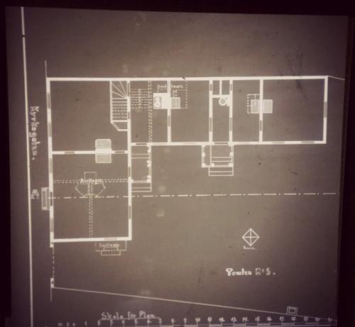 vanha pohjapiirros mikrofilmiltä